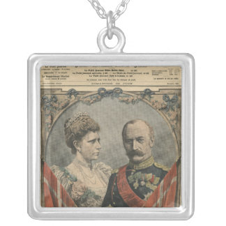 Guests of France, King Frederick VIII  and Queen Silver Plated Necklace