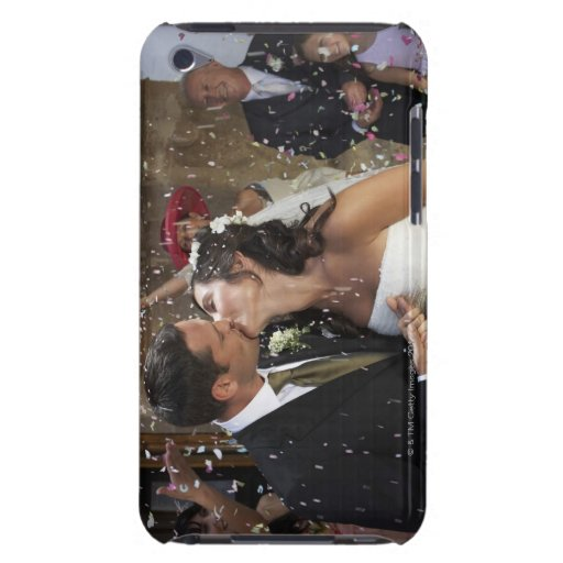 Guests throwing confetti over kissing bride and Case-Mate iPod touch case