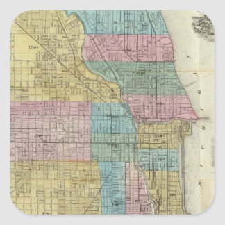 Guide Map of Chicago Square Sticker