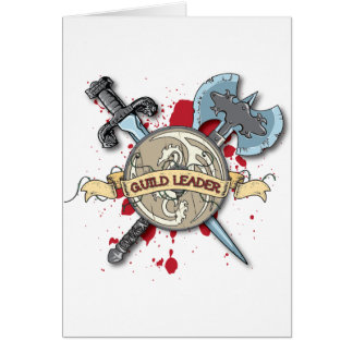 GUILD LEADER Tattoo - Sword, Axe, and Shield Card