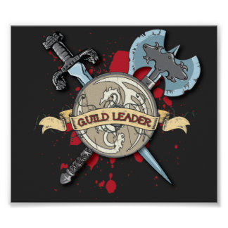 GUILD LEADER Tattoo - Sword, Axe, and Shield Poster