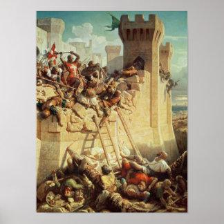 Guillaume de Clermont defending Ptolemais Poster