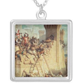 Guillaume de Clermont defending Ptolemais Silver Plated Necklace