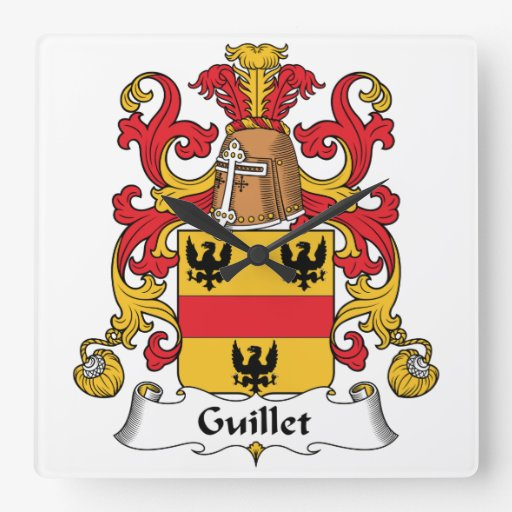 Guillet Family Crest Square Wallclock