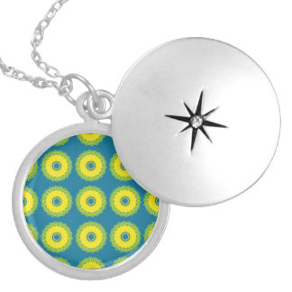 Guilloche Mesh Pattern blue yellow Personalized Necklace