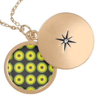 Guilloche Mesh Pattern yellow black Round Locket Necklace