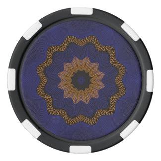 Guilloche Netted Pattern blck Set Of Poker Chips