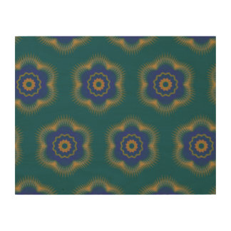 Guilloche Netted Pattern dark blue Wood Prints