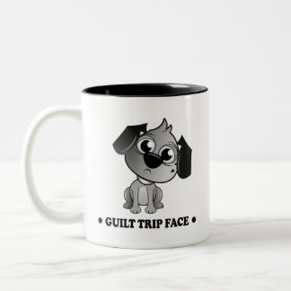 'Guilt Trip Face' Fluff Dog. Two tone black mug. Two-Tone Coffee Mug