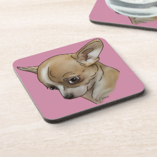 Guilty Chihuahua Puppy Portrait Print Drink Coaster