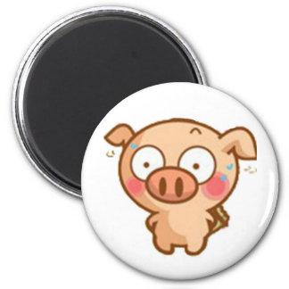 Guilty Piggy In Headlights Fridge Magnets