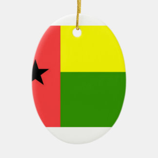 Guinea-Bissau Flag Double-Sided Oval Ceramic Christmas Ornament