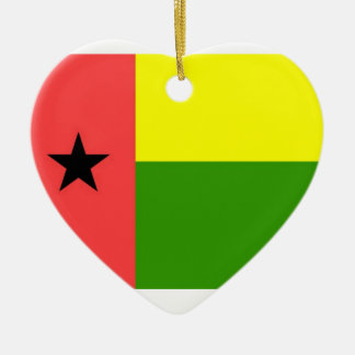 Guinea-Bissau Flag Double-Sided Heart Ceramic Christmas Ornament