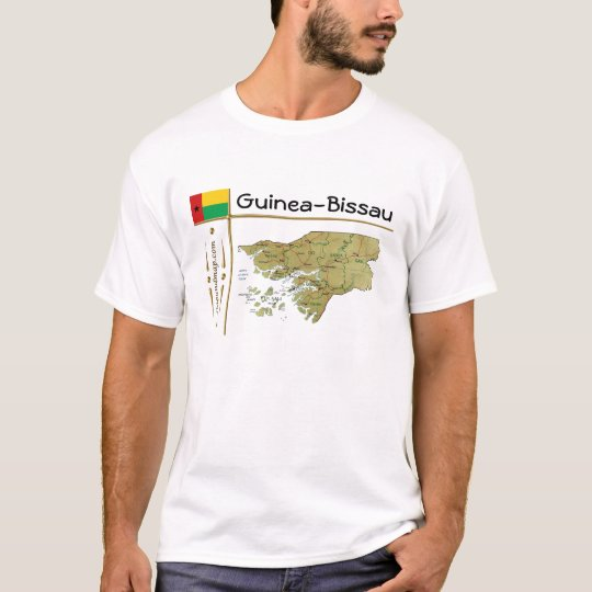 Guinea-Bissau Map + Flag + Title T-Shirt