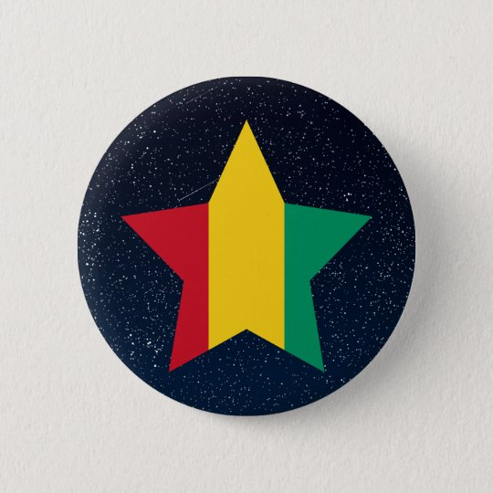 Guinea Flag Star In Space 6 Cm Round Badge