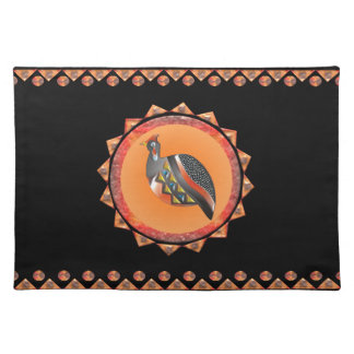 GUINEA FOWL 35 PATTERN CIRCLE BORDER PLACEMAT