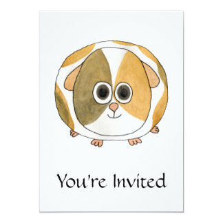 Guinea Pig. 13 Cm X 18 Cm Invitation Card