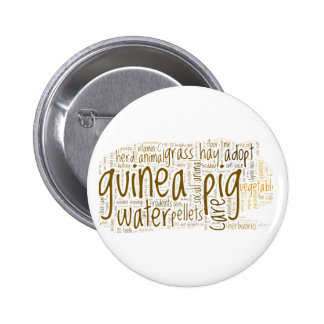 Guinea Pig Care Reminder Word Cloud 6 Cm Round Badge