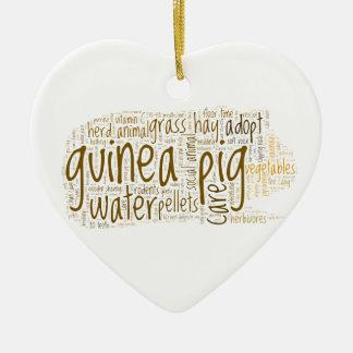 Guinea Pig Care Reminder Word Cloud Ceramic Heart Decoration