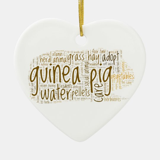 Guinea Pig Care Reminder Word Cloud Christmas Ornament