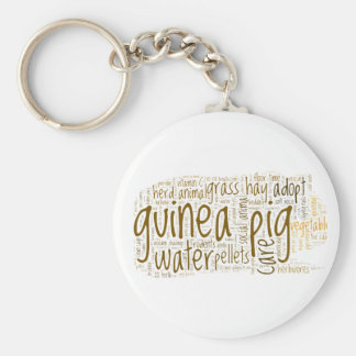 Guinea Pig Care Reminder Word Cloud Basic Round Button Key Ring