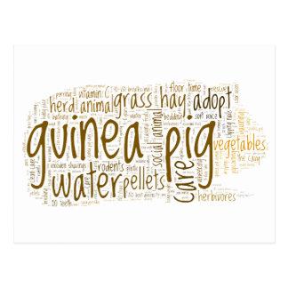 Guinea Pig Care Tips Word Cloud Postcard