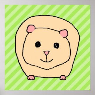 Guinea Pig, Cartoon Animal. Poster