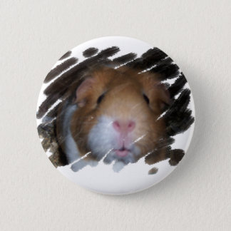 GUINEA PIG CAVY FACE 6 CM ROUND BADGE