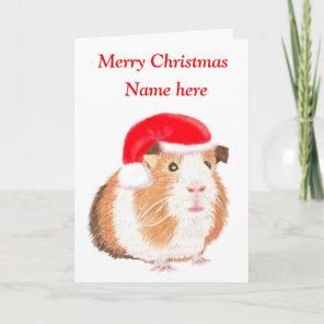 Guinea Pig Christmas card, customisable Holiday Card