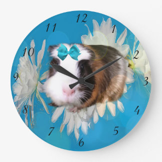 Guinea Pig Flowers Large Round Wall Clock