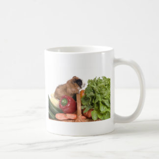 guinea pig in a basket of vegetables basic white mug
