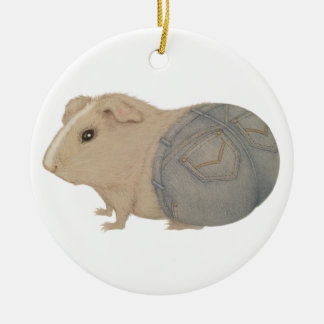 Guinea Pig in Jeans Christmas Ornament