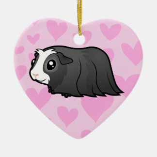 Guinea Pig Love (long hair) Christmas Ornament