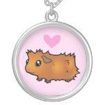 Guinea Pig Love (scruffy) Round Pendant Necklace