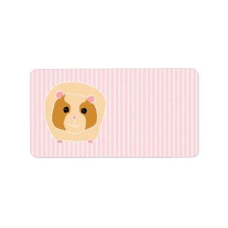 Guinea Pig, on light pink stripes. Address Label
