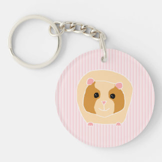 Guinea Pig, on light pink stripes. Key Ring