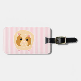 Guinea Pig, on light pink stripes. Luggage Tag