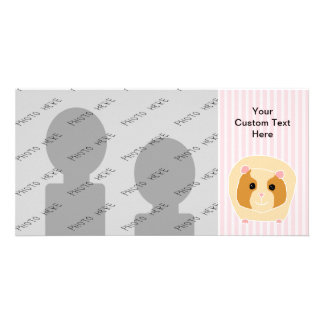 Guinea Pig, on light pink stripes. Photo Cards