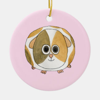 Guinea Pig on Pink. Christmas Ornament