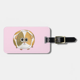 Guinea Pig on Pink. Luggage Tag