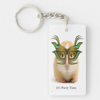 Guinea Pig, Party Time Single-Sided Rectangular Acrylic Key Ring