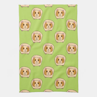 Guinea Pig Pattern, on Green. Tea Towel