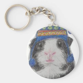 GUINEA PIG SHERPA HAT BASIC ROUND BUTTON KEY RING