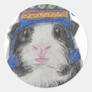 GUINEA PIG SHERPA HAT CLASSIC ROUND STICKER