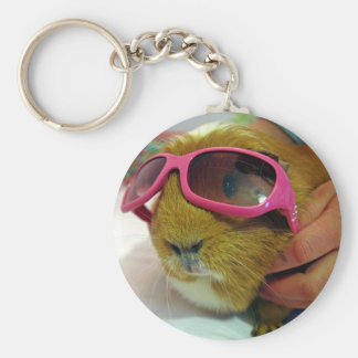 guinea pig wearing sunglasses key ring basic round button key ring