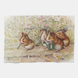 Guinea Pigs in the Garden Planting Seeds Tea Towel