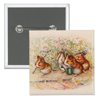Guinea Pigs Planting in the Garden 15 Cm Square Badge