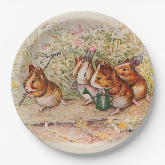 Guinea Pigs Planting in the Garden 9 Inch Paper Plate