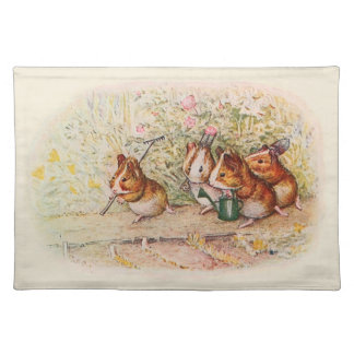 Guinea Pigs Planting in the Garden Place Mats