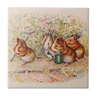 Guinea Pigs Planting in the Garden Small Square Tile